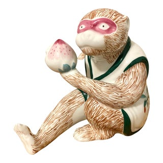 Vintage Mottahedeh Monkey Holding Fruit Figurine For Sale