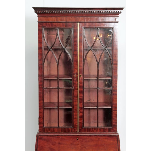 Glass Period George III Secretary Bookcase of Mahogany For Sale - Image 7 of 11