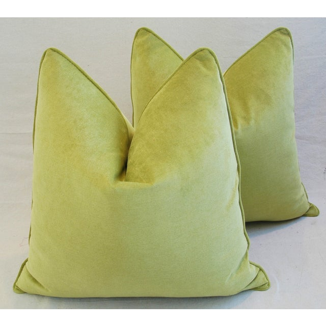 Late 20th Century Custom Tailored Apple Green Velvet Feather/Down Pillows - A Pair For Sale - Image 5 of 10