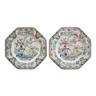 Antique Mason's Ironstone Floral Chinoiserie Plates - a Pair For Sale