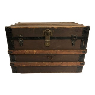 Vintage Wood & Metal Steamer Trunk - Great Coffee Table Size For Sale