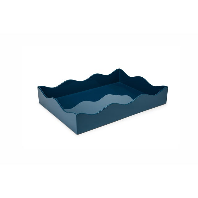 Contemporary Rita Konig Collection Medium Belles Rives Tray in Marine Blue For Sale - Image 3 of 3