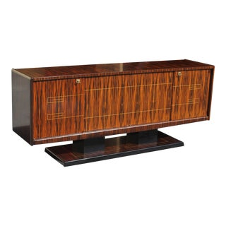 French Art Deco Exotic Macassar Ebony Sideboard / Buffet / Bar, Circa 1940s