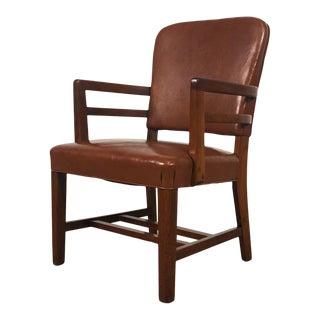 Cognac Vinyl Mid-Century Desk Chair / Office Chair With Nailhead Back For Sale