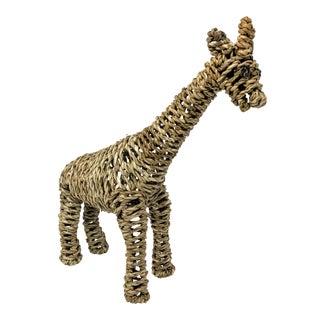 African Mario Lopez Torres Style Handwoven Rattan Giraffe Sculpture