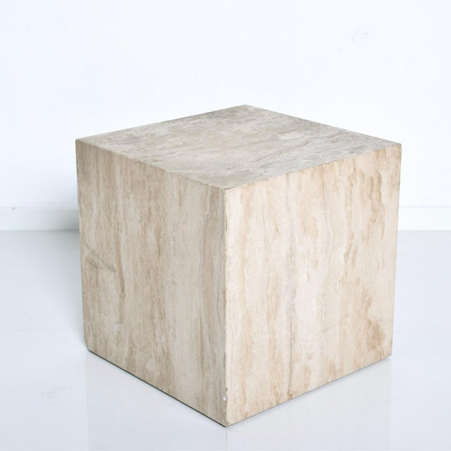 Mid-Century Modern Travertine Cube Side Table For Sale - Image 4 of 9