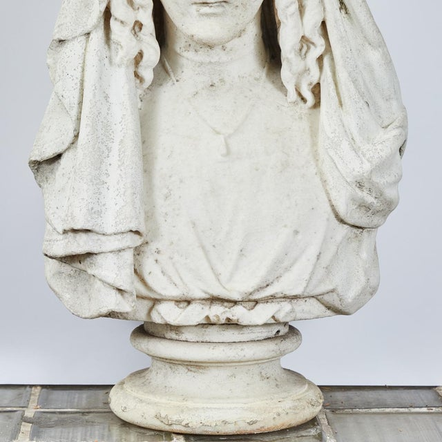 Stone Carved Stone Bust of Woman For Sale - Image 7 of 9