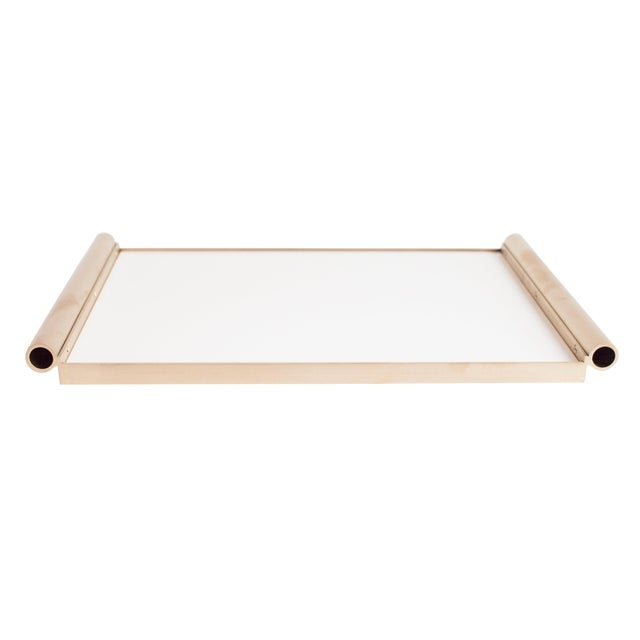 Modern Contemporary 001 Tray in Brass and Lucite by Orphan Work For Sale