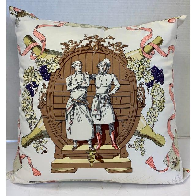 """Hermès of Paris """"A La Gloire De La Cuisine Française"""" Silk Scarf Pillow For Sale - Image 12 of 12"""