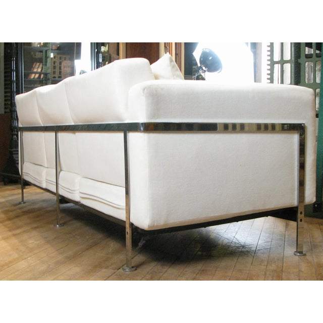 1960s Vintage Robert Haussmann for Hans Kaufeld Polished Steel Sofa For Sale In New York - Image 6 of 9