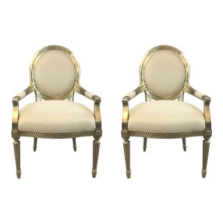 Caracole Transitional Gilded Arm Chairs Pair For Sale