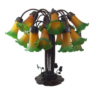 18-Light Tiffany-Style Lily Lamp With Hand-Blown Shades and Bronze Lily Pad Base For Sale