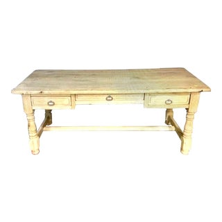 Antique 1870's French Country Bleached Oak Farm Table / Island For Sale