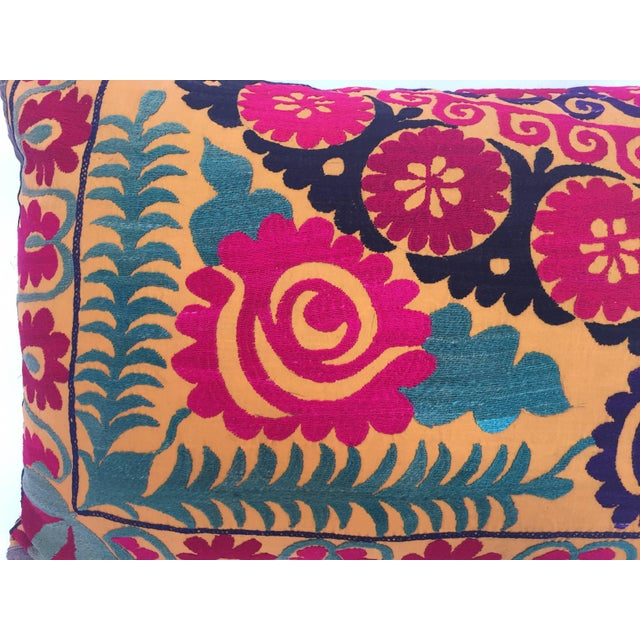 Large Vintage Colorful Suzani Embroidery Throw Pillow For Sale - Image 10 of 13