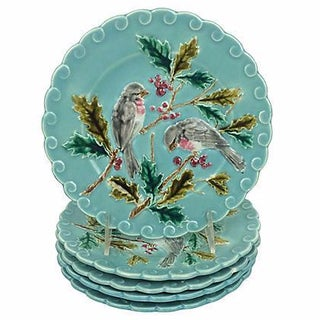 French Majolica Bird Plates - Set of 5