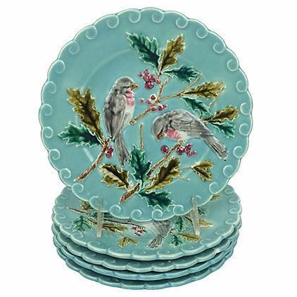 French Majolica Bird Plates - Set of 5 - Image 1 of 3