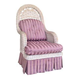 1970s Vintage Pink Cushioned Wicker Armchair