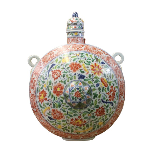 Chinese Handmade Multi-Color Flower Porcelain BaoYue Pot Jar For Sale