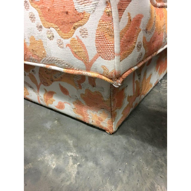 Orange Mid Century Modern Milo Baughman Style Orange Indian Print Upholstery Plinth Base Sofa For Sale - Image 8 of 9
