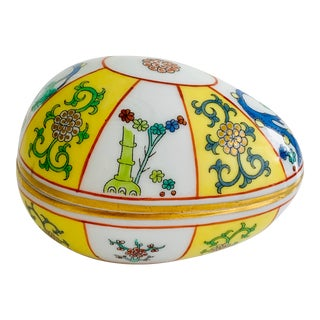 Herend Hungary Antique 1930s Victorian Chinoiserie Porcelain Egg Shaped Jewelry Box For Sale