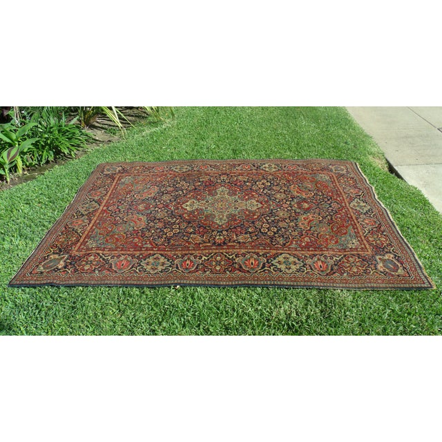 Islamic Antique Persian Oriental Handwoven Rug - 4'5'' X 6'6'' For Sale - Image 3 of 11