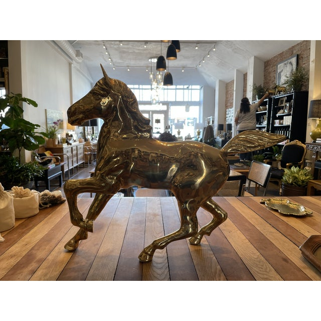 Gorgeous, large decorative brass horse with intricate features. Perfect for your shelfie!