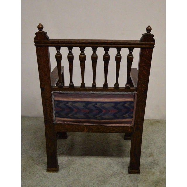 Antique Wind Man Carved Oak Library Armchair - Image 10 of 11