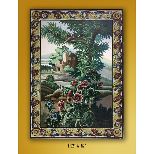 1970s Hand Painted French Taperstry Scenery on Canvas Panel For Sale - Image 5 of 6