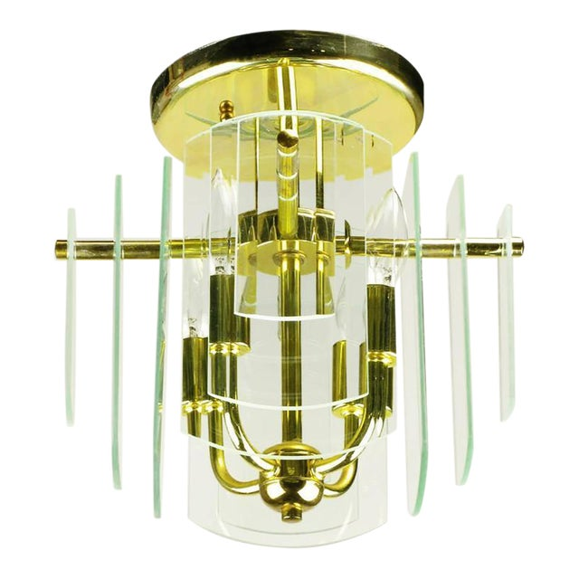 Pair Brass and Beveled Graduated Glass Ceiling Lights - Image 1 of 5