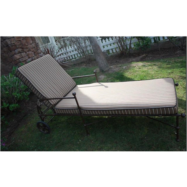 Contemporary Chaise Lounge Chairs With Custom Sunbrella Cushions - a Pair For Sale - Image 3 of 9