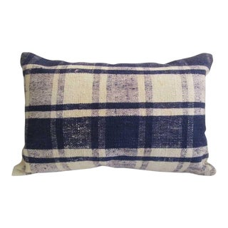 Turkish Navy Blue White Decorative Kilim Pillow Cover For Sale