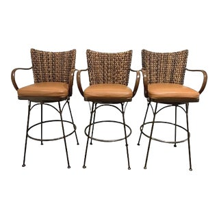 "Palecek "" Havana "" Swivel Leather Seat Barstools - Set of 3 For Sale"