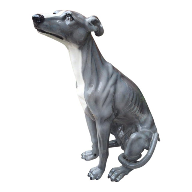 Italian Ceramic Dog Sculpture For Sale
