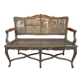 Antique Carved French Provincial Bench With Cane For Sale
