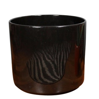 "15"" Black Glossy Glazed La Verne Gainey Ceramic Planter For Sale"