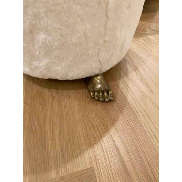 This is a new custom handmade authentic LA Designer foot stool in faux off white bunny shearling mounted atop solid brass...