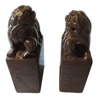 Decorative Soapstone Foo Dogs Bookends - A Pair For Sale