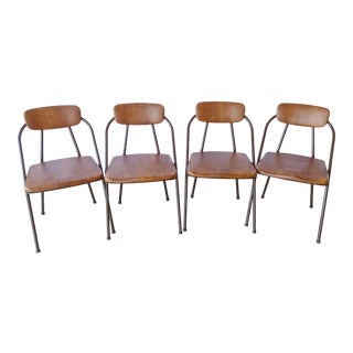 Vintage Cosco, Brown Vinyl Metal Folding Chairs - Set of 4 For Sale