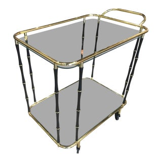 French Bamboo Motif Brass Bar Cart