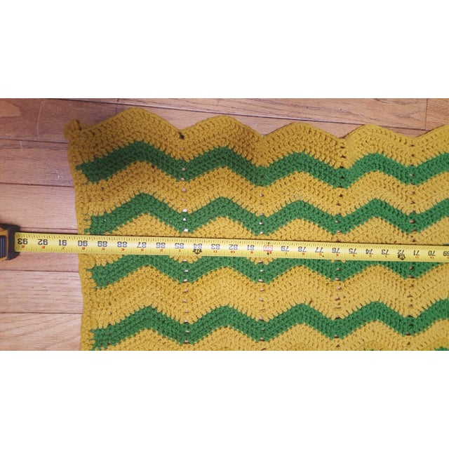 Vintage Handmade Crocheted Green/Yellow Striped Afghan Throw Blanket - Image 7 of 7