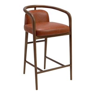 Contemporary Mid Century Modern Style Scandinavian Walnut Bar Stool