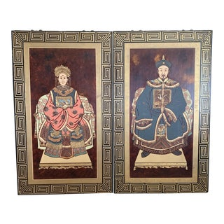 Asian Emperor and Empress Wall Hangings - a Pair For Sale
