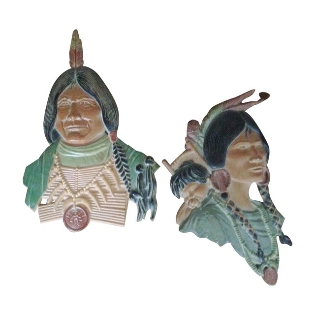 Vintage Metal Native American Wall Plaques - Pair - Image 1 of 11