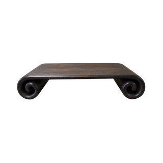 Chinese Brown Wood Scroll Rectangular Table Top Stand Display Easel For Sale