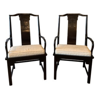 1970s Vintage Century Furniture Chin Hua Raymond Sobota Asian Chinoiserie Dining Arm Chairs- A Pair For Sale
