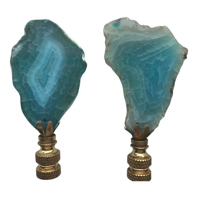 Turquoise Agate Stone Lamp Finials - A Pair - Image 1 of 4