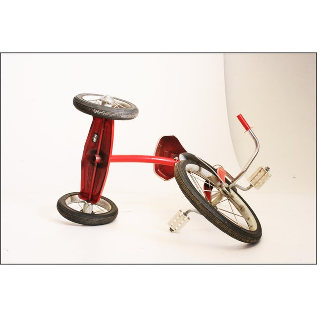 Vintage Red Metal Child's Tricycle For Sale - Image 10 of 11