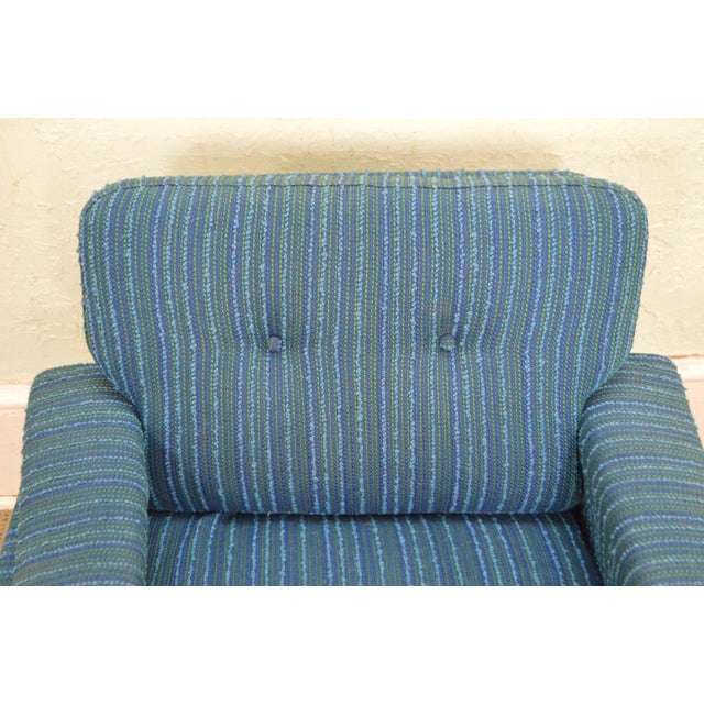 Late 20th Century Danish Modern Mid Century Teak Frame Blue Upholstered Lounge Chair For Sale - Image 5 of 10