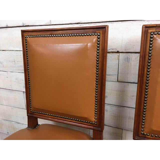 Antique Louis XVI Leather Upholstered French Country Chairs - A Pair - Image 5 of 11