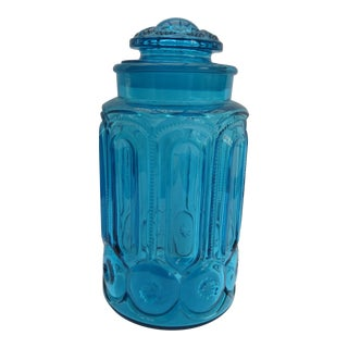 Vintage Moon & Stars Glass Canister For Sale